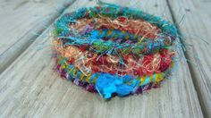 upcycled silk yarn jewelry colorful shaggy by madhattresscreations, $13.99