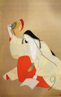 上村松園 草子洗小町 1937年 by Uemura Shoen (1875-1949 ), Japanese painter