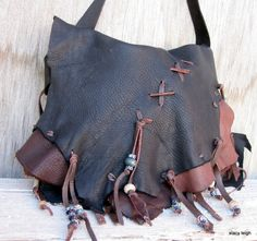 Black Elk Leather Bag with Beaded Fringe RESERVED for Nadia