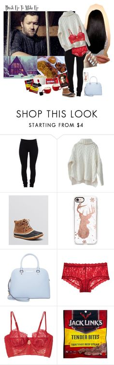 """Cold Winter ...Makeup"" by simply-netflix ❤ liked on Polyvore featuring Helmut Lang, SOREL, Casetify, MICHAEL Michael Kors, Hanky Panky and La Perla"