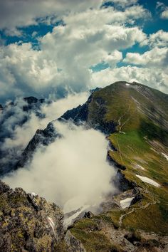 Touching the sky - amazing hiking place Fagaras, Romania