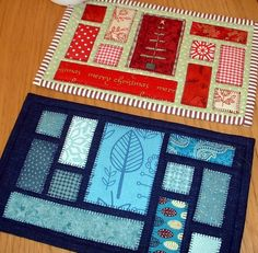 Quilting: Ticker Tape Mug Rug (Quilt as You Go) or using Christmas Fabrics to make patchwork cards. Small Quilts, Mini Quilts, Mug Rug Patterns, Quilt Patterns, Placemat Patterns, Quilting Tutorials, Quilting Projects, Patch Quilt, Quilt Blocks