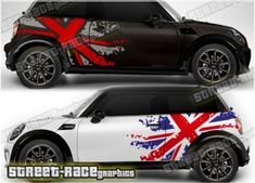 Mini rally graphics Mini Union Jack graphics, to suit all Mini cars. This is a 2 colour rally Design Your Own Car, Design Your Own Stickers, Sticker Design, Car Window Stickers, Car Decals, Custom Car Stickers, Mini Cooper S, Mini Cooper Tuning, Car Backgrounds