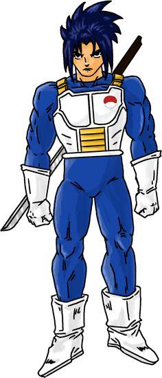 Colo de Sasuke en combinaison de combat de Vegeta. | Juju Gribouille - Du dessin, des mangas, des comics, des BD et des chroniques.