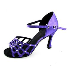 Performance Shoes Satin Upper Latin Dance Shoes High Heel With Crystal for Women – USD $ 79.99