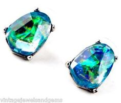 Iridescent Green Blue MOP Crystal Rhinestone Silver Northern Lights Earrings | eBay