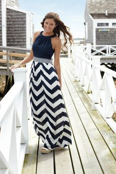 Navy Blue and Chevron Maxi Dress  I would totally make one, and shorten it because maxi dresses bug me.