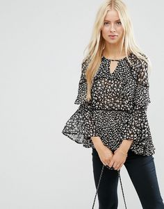 Image 1 of ASOS Mix & Match Floral Print Tiered Ruffle Blouse