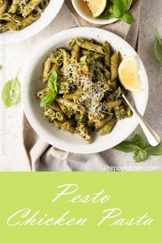 The easiest Chicken Pesto Pasta made with a lemony green pesto made with fresh herbs, cheese and garlic and grilled chicken breasts. Toss with your favorite short noodles for a super quick and delicious weeknight meal! Pesto Pasta Recipes, Healthy Pasta Recipes, Healthy Pastas, Chicken Recipes, Noodle Recipes, Pesto Recipe, Rice Recipes, Pasta Dishes, Food Dishes
