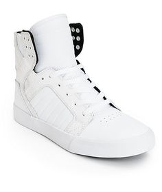 c23e02e0981b Cop some ultra clean street steez with a white leather upper with croc  print detailing and