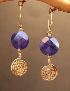 Victorian 207 Amethyst with hammered swirl by CalicoJunoJewelry