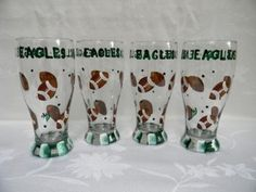 Hand painted Pilsners w/footballs by Morningglories1 on Etsy, $40.00
