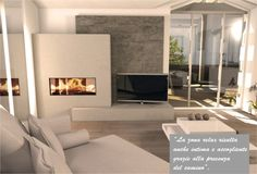 Looking for the right fireplace? Take a look at these inspirations! Basement Fireplace, Home Fireplace, Modern Fireplace, Living Room With Fireplace, Fireplace Design, Living Room Decor, Interior Exterior, Home Interior Design, Casa Top