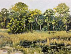 Big Talbot Island Marshes 18x24 inches oil on canvas $1600.00 http://www.lindablondheim.com See this painting at my Loft Studio at 4122 NW 16th BLVD, Next to Fresh market in Gainesville, FL Please Repin