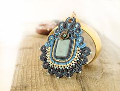 Blue soutache pendant beaded pendant blue embroidered by pUkke