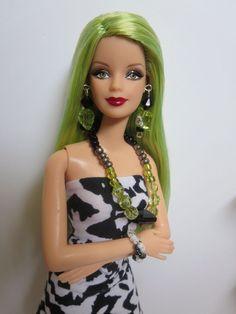OOAK Barbie doll, re-root reroot green hair, mackie face, Jeannie body