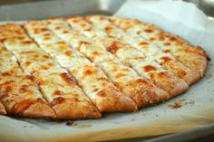 pizza dough and cheesy breadsticks