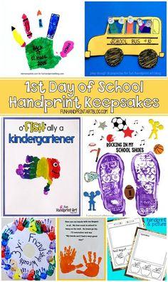 Handprint Craft Keepsakes for the 1st Day of School 1st Day Of School, Beginning Of School, Back To School, School Kids, School Stuff, Diy Gifts For Kids, Diy For Kids, Crafts For Kids, Fall Crafts