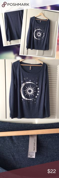 Next Level Graphic Long Sleeve Tee HOST PICK x2. Super soft sun and moon graphic long sleeve tee from Next Level.  BNWOT. Never worn! Next Level Tops Tees - Long Sleeve