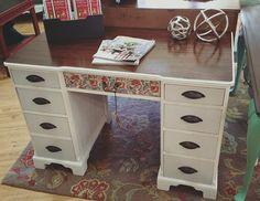 Solid Wood Vintage Desk by RoysTimelessTreasure on Etsy