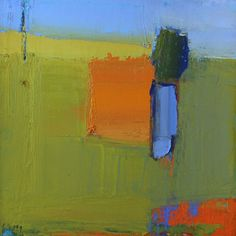 """""""Field with Orange"""" is an original oil painting by Sandy Ostrau measuring 6"""" x 6"""". This paintings comes framed and is ready to hang."""