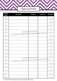 Replacement & Missing Items - direct sales party organizer printable