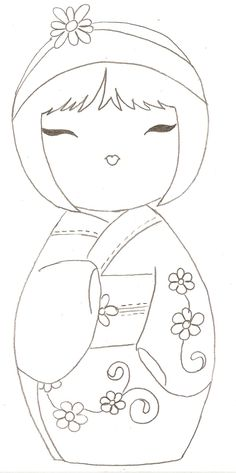 ۞ Kokeshi Doll -- can be used as a paper piecing pattern for cardmaking or…