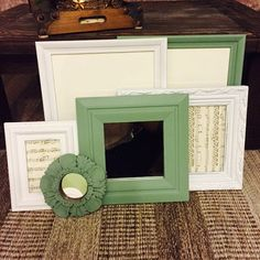 Wall Gallery Frame Set/ White and Green Cottage Chic Painted Frame Set/ Vintage Frame Sets  Another great chalk paint product. A set of six