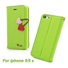 Hot PU Leather Case For iPhone 4 4S 5 5S 5C Cherry Series Flip Cover With Stand Function & Card Holder Free Shipping