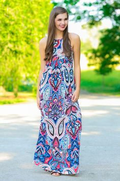 Cute Print Maxi Dress - Long Dress - $38.00