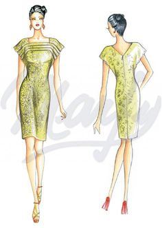 Fabric required about mt 1 30 wide 1 40 Slightly loose-fitting dress with drop sleeves andsharp pleat motif
