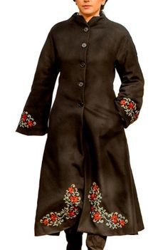 Palton negru cu broderie florala traditionala P3-N -  Ama Fashion Floral, Embroidery, Florals, Flowers