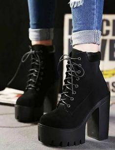 High Heels Boots, Platform Ankle Boots, Platform High Heels, Black High Heels, Black Boots, Heeled Boots, Shoe Boots, Lace Up Heel Boots, Red High