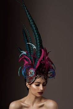 NUT     Stunning Turquoise and Electric Hot Pink Feather Headdress by Amanda Dudley Milliner  www.amandadudley.net