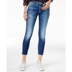 7 For All Mankind Raw-Hem Dark Blue Wash Ankle Skinny Jeans ($198) ❤ liked on Polyvore featuring jeans, dark blue, frayed hem skinny jeans, white denim skinny jeans, 7 for all mankind skinny jeans, skinny fit jeans and denim skinny jeans