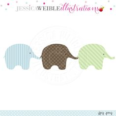 3 Little Boy Elephants Digital Clipart - JW Illustrations
