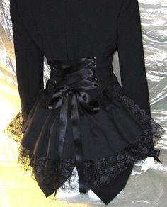 Black Victorian Bustle Jacket Coat Goth Lolita Vampire Steampunk Cosplay DIY 14/16 Bnwt. $65.00, via Etsy.