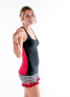 Lace Backed Racerback tank Black and Red by coralanidesigns, $38.00