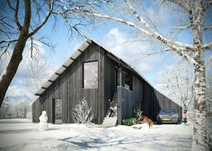 love how the negative space fills out the classic house shape Prefab Cottages, Timber Structure, Barn Living, 3d Studio, Modern Barn, Commercial Architecture, Classic House, Exterior Design, Building A House