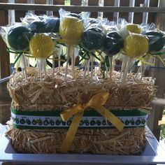 cake pops in small hay bale