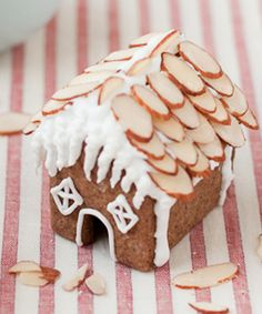 Holiday food design - using almonds for the roof of a gingerbread house