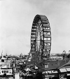 Historical 1893 Chicago Ferris Wheel Picture, Columbian Exposition, Chicago, IL