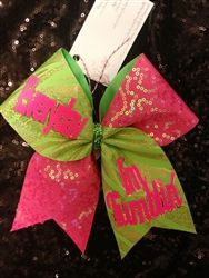 Everyday I'm Tumblin Lime and Gold Mystique with Hot Pink Sequins Cheer Bow  www.BowsByApril.com