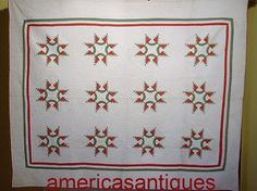 SMALL PIECES ANTIQUE FEATHERED STAR QUILT C1860 HAND QUILTED AND PIECED