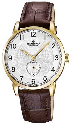 Montre Candino C4592/1 - Homme - Quartz - Analogique - Verre Saphir - Cadran en Acier inoxydable Or - Bracelet en Cuir Marron - Date - Etanche 5 bars