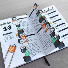 Looking for inspiration to add some deliciousness to your Bullet Journal? Check out these 39 sushi themed Bullet Journal pages. Bullet Journal School, Bullet Journal Notebook, Bullet Journal Ideas Pages, Bullet Journal Layout, Bullet Journal Inspiration, Creating A Bullet Journal, Bullet Journal Cover Page, Journal Covers, Album Journal