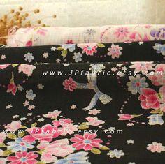 Chirimen fabric. Black Sakura fabric. Japanese fabric. by JPfabric