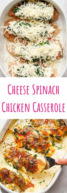 Spinach Chicken Casserole with Cream Cheese and Mozzarella – All of the delicious flavors of cream cheese, spinach, and chicken are packed into this delicious dinner recipe! This easy spinach… Mozzarella Chicken, Spinach Stuffed Chicken, Baked Chicken, Chicken Spinach Recipes, Recipe Chicken, Mozzarella Cheese Recipe, Pasta Cheese, Chicken Salad, Cream Cheese Spinach