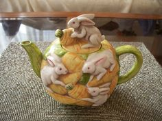 A decidedly different teapot - rabbits and carrots. Beautiful Rabbit, Tea Cozy, Mad Hatter Tea, China Painting, Chocolate Pots, Bunny Rabbit, Cup And Saucer, Squirrel, Tea Time