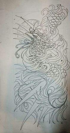 Phượng hoàng Japanese Phoenix Tattoo, Japanese Tattoo Art, Cover Up Tattoos, Mini Tattoos, Hannya Tattoo, Phoenix Tattoo Design, Fu Dog, Phoenix Art, Asian Tattoos